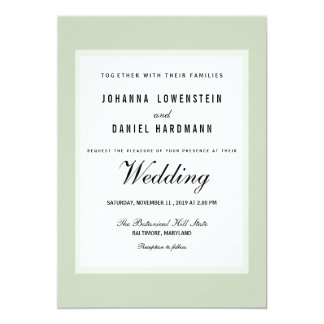 Shabby Chic Green Modern Wedding Card