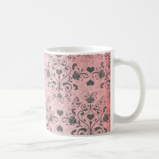 shabby chic grey heart swirl damask on grunge pink coffee mug