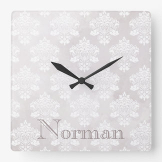 Shabby Chic Ivory Damask Personalized Square Wall Clock