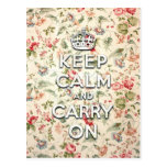 Shabby chic keep calm and carry on postcard