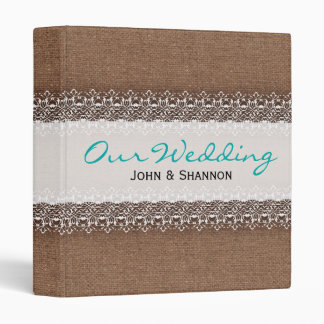 Shabby Chic Lace on Rustic Burlap - Wedding Album 3 Ring Binders
