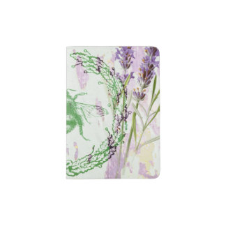 shabby chic lavender vintage bee french country passport holder
