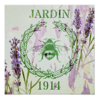 shabby chic lavender vintage bee french country poster