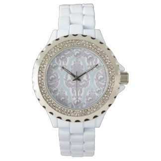 Shabby Chic Lilac & Blue Damask & Faux Pearls Wristwatches