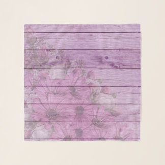 Shabby Chic Lilac Gerbera On Wood Background Scarf