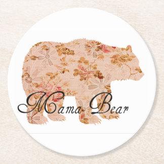 Shabby Chic Mama Bear Round Paper Coaster
