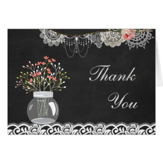 Shabby Chic Mason Jar and Lace Thank You Card