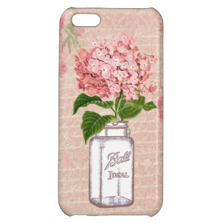 Shabby Chic Mason Jar & Pink Hydrangea iPhone 5C Cover