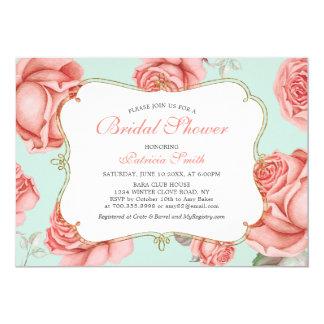 Shabby Chic Mint & Coral Bridal Shower Invitation