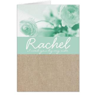 Shabby Chic Mint Peony Burlap Bridesmaid Request Card