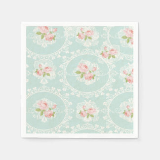 Shabby Chic Mint & Pink Cocktail Napkins Disposable Napkins