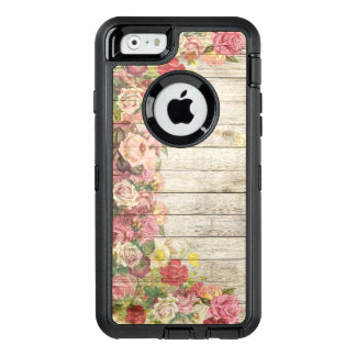 Shabby Chic Multi Coloured Roses On Wood OtterBox Defender iPhone Case
