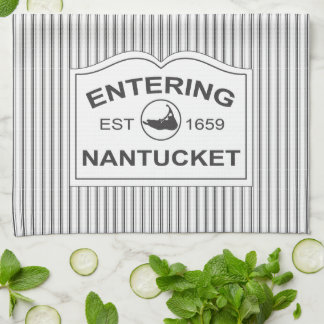 Shabby Chic Nantucket Sign in Black & White Stripe Kitchen Towel