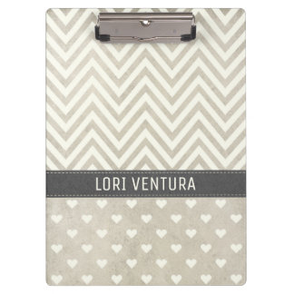 Shabby Chic Natural Stripes and Polka Dots Clipboard
