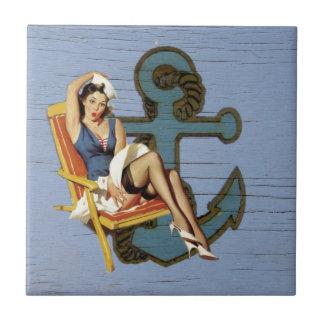 Shabby Chic Nautical Anchor Pin Up Girl Sailor Ceramic Tiles