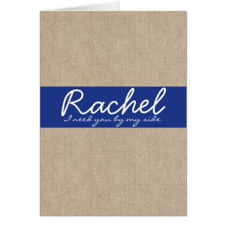 Shabby Chic Navy Blue Burlap Bridesmaid Card