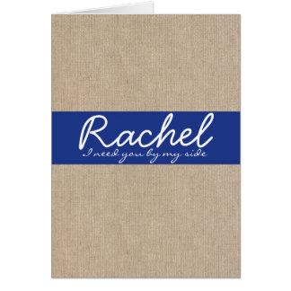 Shabby Chic Navy Blue Burlap Bridesmaid Card