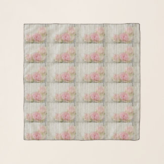 Shabby Chic Pale Pink Romantic Roses On Pale Wood Scarf