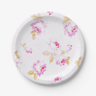 Shabby Chic Pale Pink Rose Paper Plate