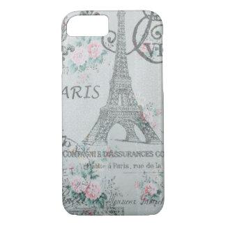 shabby chic paris eiffel tower blue floral iPhone 8/7 case