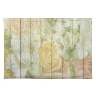 Shabby Chic Pastel Roses On Wood Placemat