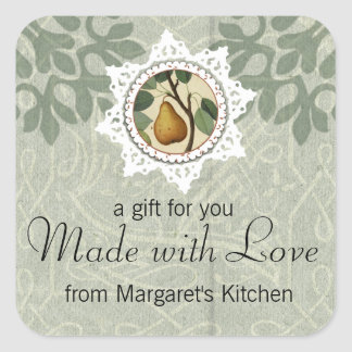 shabby chic pear plant fruit food gift tag label square sticker