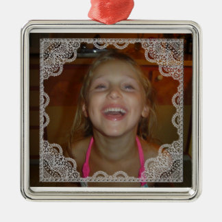 Shabby Chic Personalize Photo Christmas Metal Ornament