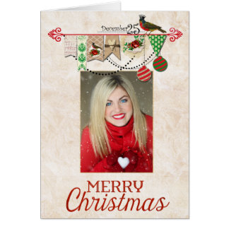 Shabby Chic Photo Christmas Card with easy to use