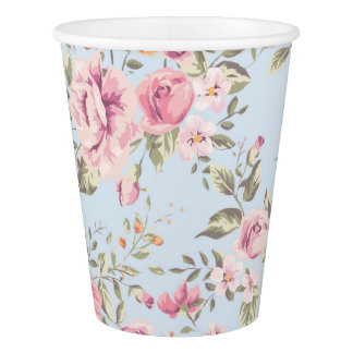Shabby Chic Pink and Blue Floral Paper Cups Paper Cup