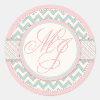 Shabby Chic Pink & Aqua Chevron Print Monogram Classic Round Sticker