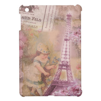 Shabby Chic Pink Eiffel Tower & Girl Collage Cover For The iPad Mini