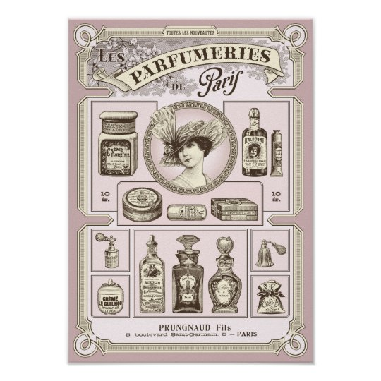 Shabby chic pink French/Paris perfumery poster