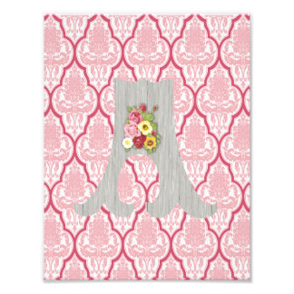 Shabby Chic Pink & Rose Damask w Custom Monogram Photographic Print
