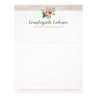 Shabby Chic Pink Roses on Rustic Country Barn Wood Letterhead
