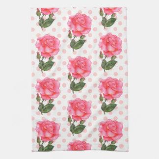 Shabby Chic Pink Roses Polka Dots Kitchen Towel