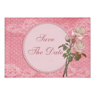 Shabby Chic Pink Roses Wedding Save the Date 3.5x5 Paper Invitation Card