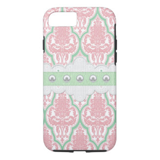 Shabby Chic Pink & Teal Damask iPhone 8/7 Case