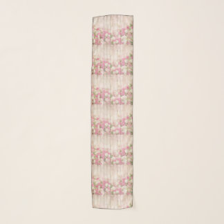 Shabby Chic Pink & White Tulips & Roses On Wood Scarf