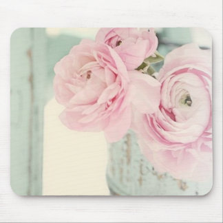 Shabby Chic Pitcher of Pink Flowers Mouse Pad