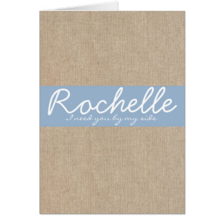 Shabby Chic Powder Blue Burlap Bridesmaid Card