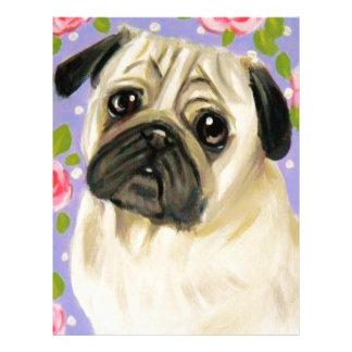 Shabby Chic Pug Customized Letterhead