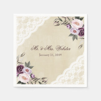 Shabby Chic Purple Floral Lace Wedding Paper Napkins