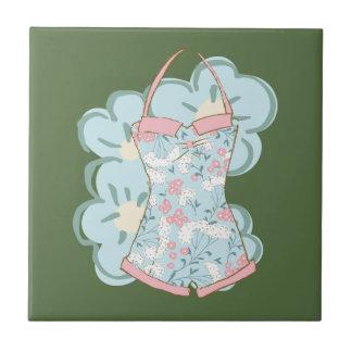 Shabby Chic Retro Floral Swimsuit on Kale Ceramic Tile