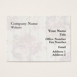 Shabby Chic Romantic Roses on Wooden Wall Business Card