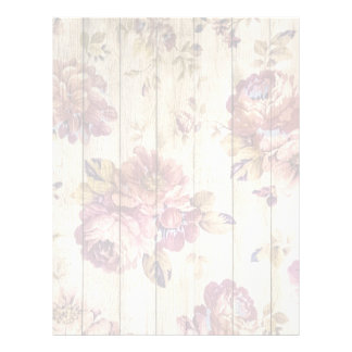 Shabby Chic Romantic Roses on Wooden Wall Letterhead