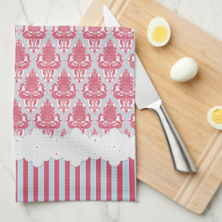 Shabby Chic Rose & Blue Damask & Stripes Kitchen Towel