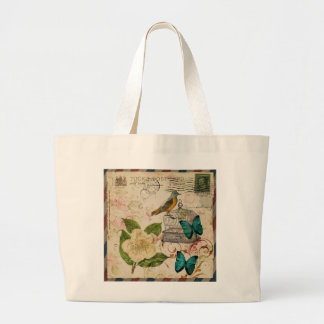 shabby chic rose botanical birdcage french bird large tote bag