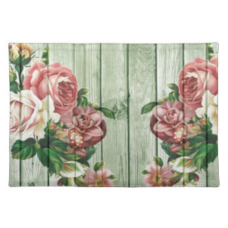 Shabby Chic Rose Bouquets On Wood Design Placemat