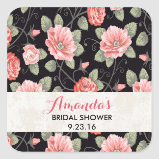 Shabby Chic Rose Floral Bridal Shower Stickers