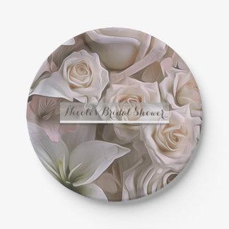 Shabby Chic Rose Floral Elegant Bridal Shower Paper Plate
